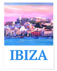 Póster Premium  Retro Poster Ibiza Old Town and Harbour Pearl Of the Mediterranean - M. Bleichner