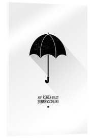 Quadro em acrílico  Umbrella - The sun will always shine after the rain. - Black Sign Artwork