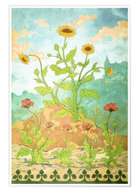 Póster Premium Sunflowers and Poppies
