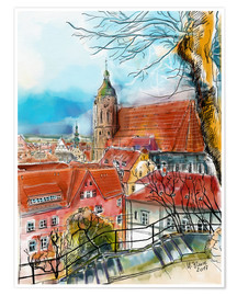 Póster Premium  Pirna, View to the Church of St. Mary - Hartmut Buse
