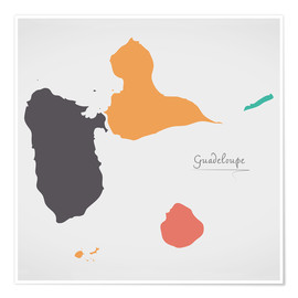 Póster Premium Guadeloupe map modern abstract with round shapes