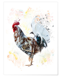 Póster Premium  Digital painting of a colorful rooster