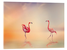 Quadro em acrílico  Two Flamingoes in The Lake at Sunset