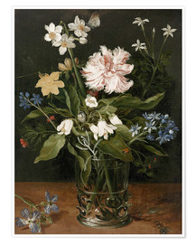Póster Premium Still Life with Flowers in a Glass Vase