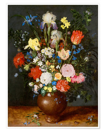 Póster Premium Bouquet of flowers in clay vase