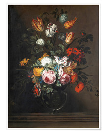Póster Premium Bouquet of flowers in a Venetian glass vase