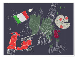 Póster Premium  Let's go to Italy!