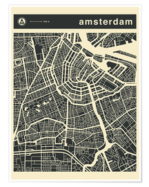 Póster Premium  AMSTERDAM CITY MAP - Jazzberry Blue