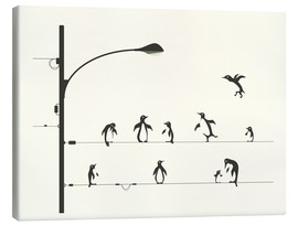 Quadro em tela  PENGUINS ON A WIRE - Jazzberry Blue