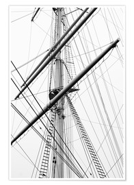 Póster Premium  Detail view of a sailboat mast