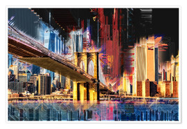 Póster Premium  New York mit Brooklyn Bridge - Peter Roder
