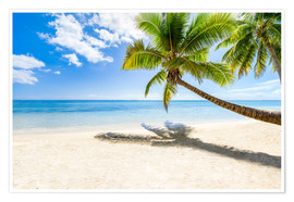 Póster Premium  Palm beach and sea in summer vacation - Jan Christopher Becke