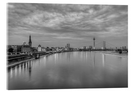 Quadro em acrílico  Düsseldorf skyline in the evening in black and white - Michael Valjak