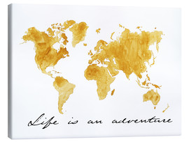 Quadro em tela  Mapa do mundo - Life is an adventure - Nadine Conrad