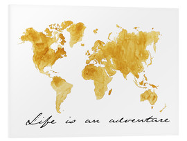 Quadro em PVC  Mapa do mundo - Life is an adventure - Nadine Conrad