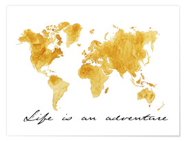 Póster Premium  Mapa do mundo - Life is an adventure - Nadine Conrad