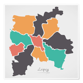Póster Premium  Leipzig city map modern abstract with round shapes - Ingo Menhard