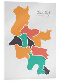 Quadro em acrílico  Dusseldorf city map modern abstract with round shapes - Ingo Menhard
