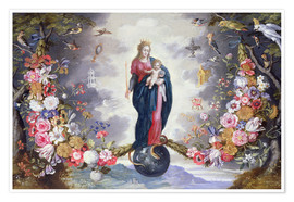 Póster Premium The Virgin and Child surrounded by a garland