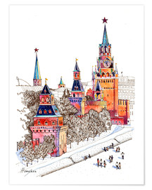 Póster Premium Kremlin, Red Square, Moscow