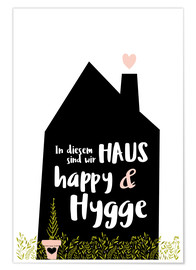Póster Premium Happy + Hygge (German)