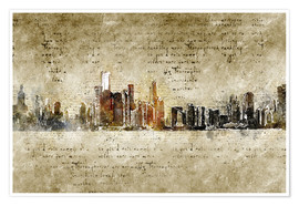 Póster Premium  Chicago skyline in modern abstract vintage look - Michael artefacti