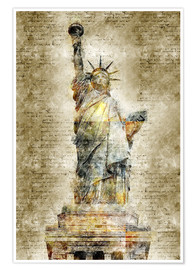 Póster Premium  Statue of liberty New York in modern abstract vintage look - Michael artefacti