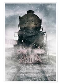 Póster Premium Steam train at the snowing day