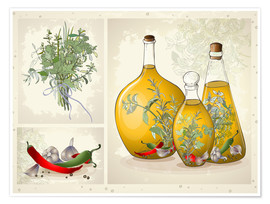 Póster Premium  Kitchen herbs collage