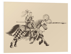 Quadro em PVC  Knight with armor and horse