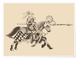 Póster Premium  Knight with armor and horse