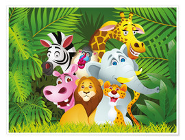 Póster Premium  Os animais da selva - Kidz Collection