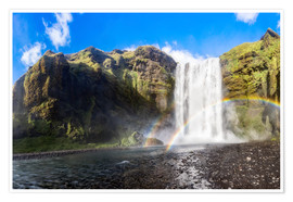 Póster Premium Skogafoss waterfall in south of Iceland