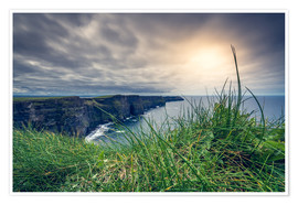 Póster Premium  View over the cliffs of Moher, Ireland