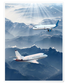 Póster Premium Two aircrafts over the mountains