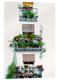 Quadro em acrílico  Facade with balconies full of flowers in Valencia