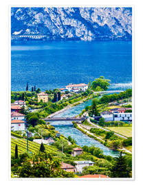 Póster Premium View of Lake Garda in Northern Italy