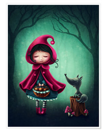 Póster Premium Little red riding hood and the wolf