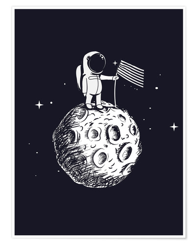 Póster Premium The first man on the moon