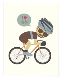 Póster Premium I love cycling
