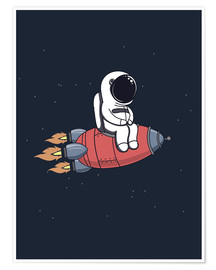 Póster Premium  Pequeno astronauta no foguete - Kidz Collection