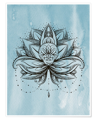 Póster Premium Lotus Zen watercolor