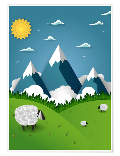 Póster Premium Paper landscape with sheep