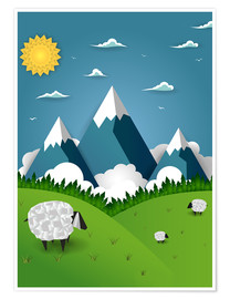 Póster Premium  Paper landscape with sheep - Kidz Collection