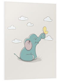 Quadro em PVC  Little elephant with butterfly - Kidz Collection