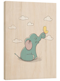 Quadro de madeira  Little elephant with butterfly - Kidz Collection