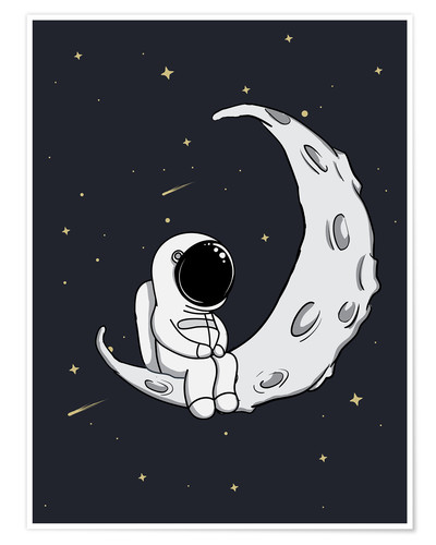 Póster Premium Little man in the moon
