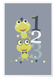Póster Premium  Frogs playing with numbers - Jaysanstudio