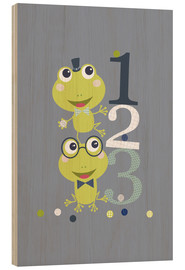 Quadro de madeira  Frogs playing with numbers - Jaysanstudio