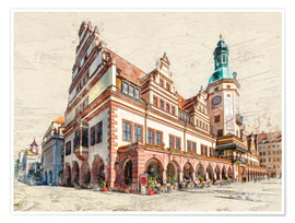 Póster Premium Leipzig Old Town Hall